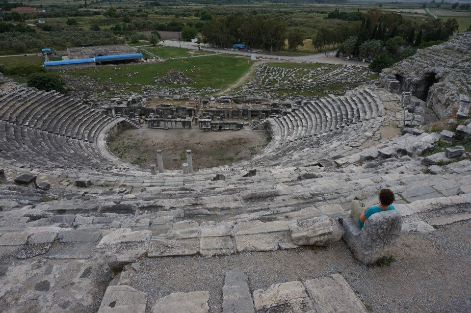 Hilary Bouxsein in the amphitheater at Miletus.