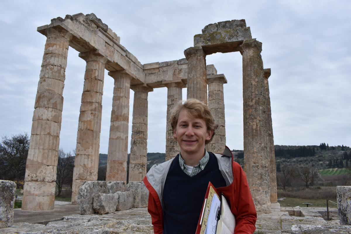 Peter Moench at the temple of Zeus at Nemea.