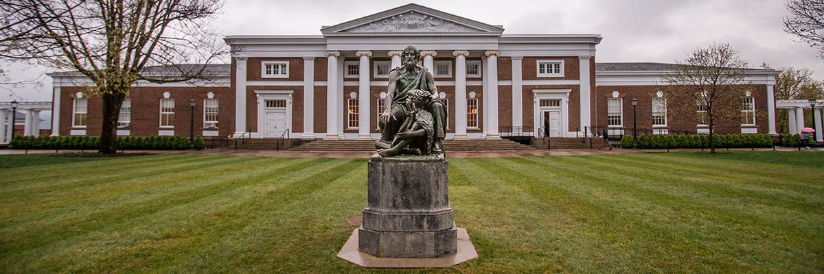 Homer statue in front of Old Cabell
